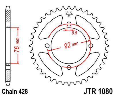 Звезда задняя JT JTR1080.39