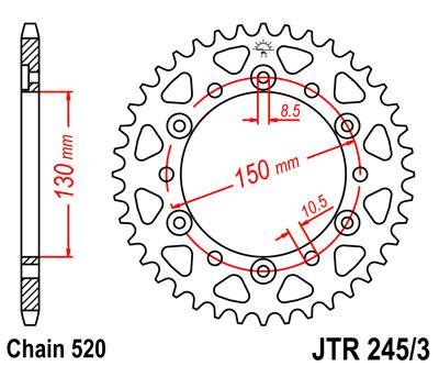 Звезда задняя JT JTR245/3.43