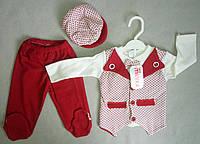 Костюм с бабочкой и кепкой для новорожденных на мальчика 0-3 мес Турция