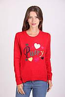 Красная асиметричная кашемировая женская кофта с принтом