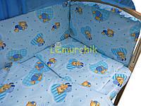 """Постельный набор в детскую кроватку (8 предметов) Premium """"Мишки в пижамке"""" бирюза"""