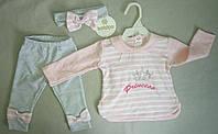 Детский трикотажный костюм с повязкой для новорожденных на девочек 6-18 мес