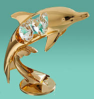 """Позолоченная Фигурка """"Дельфин"""" с кристаллами Swarovski"""