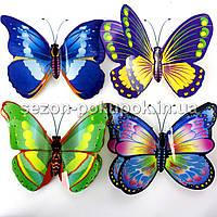 (4шт) Бабочки двойные 3D,на скотче (10х8см). Цвета - на фото