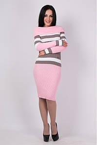 Вязаное женские платье по фигуре Памела розовый - капучино - белый