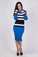 Вязаное женские платье по фигуре Памела электрик - черный - белый