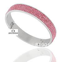 Браслет из ювелирной стали Swarovski-Elements Розовый