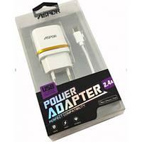 СЗУ блочек Aspor A828, 2USB/5V/2.4A + USB кабельmicro.Цвет:Белый- золото.