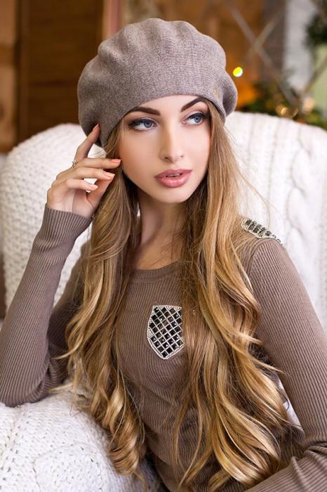 Зимний женский берет «Ева» Темный кофе