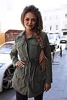 Модная куртка -парка демисезонная   Хаки. Пудра. Красный