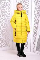 Стильное зимнее пальто  для девочки Ангелика желтое