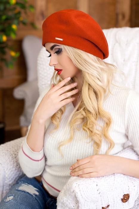 Зимний женский берет «Ева» Терракотовый
