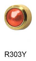 Серьги для прокола мочки уха R303Y Красный коралл с золотым покрытием