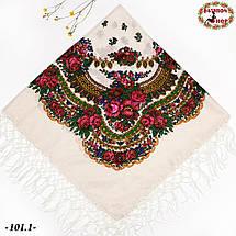 Святкова біла українська хустка з люрексом Вишенька, фото 2