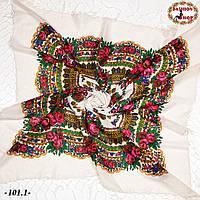 Святкова біла українська хустка з люрексом Вишенька, фото 1