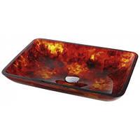 Умывальник стеклянный Red Amber Kraus GVR-400-RE-15mm