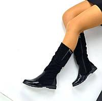 Демисезонные замшевые сапоги Biancoс с кожаным носком и пяткой черного цвета, низкий ход