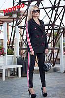 Костюм женский модный с лампасами двубортный пиджак с поясом и брюки трикотаж разные цвета Dm638