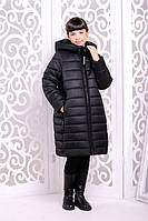 Стильное зимнее пальто  для девочки Ангелика черный