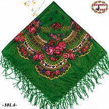Зелена народна хустка с золотистою ниткою Вишенька, фото 3