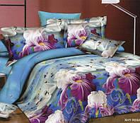 Полуторное постельное белье с простыней на резинке 90/200/25 Райский уголок, ранфорс