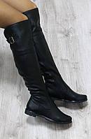Зимние кожаные сапоги-ботфорты на молнии