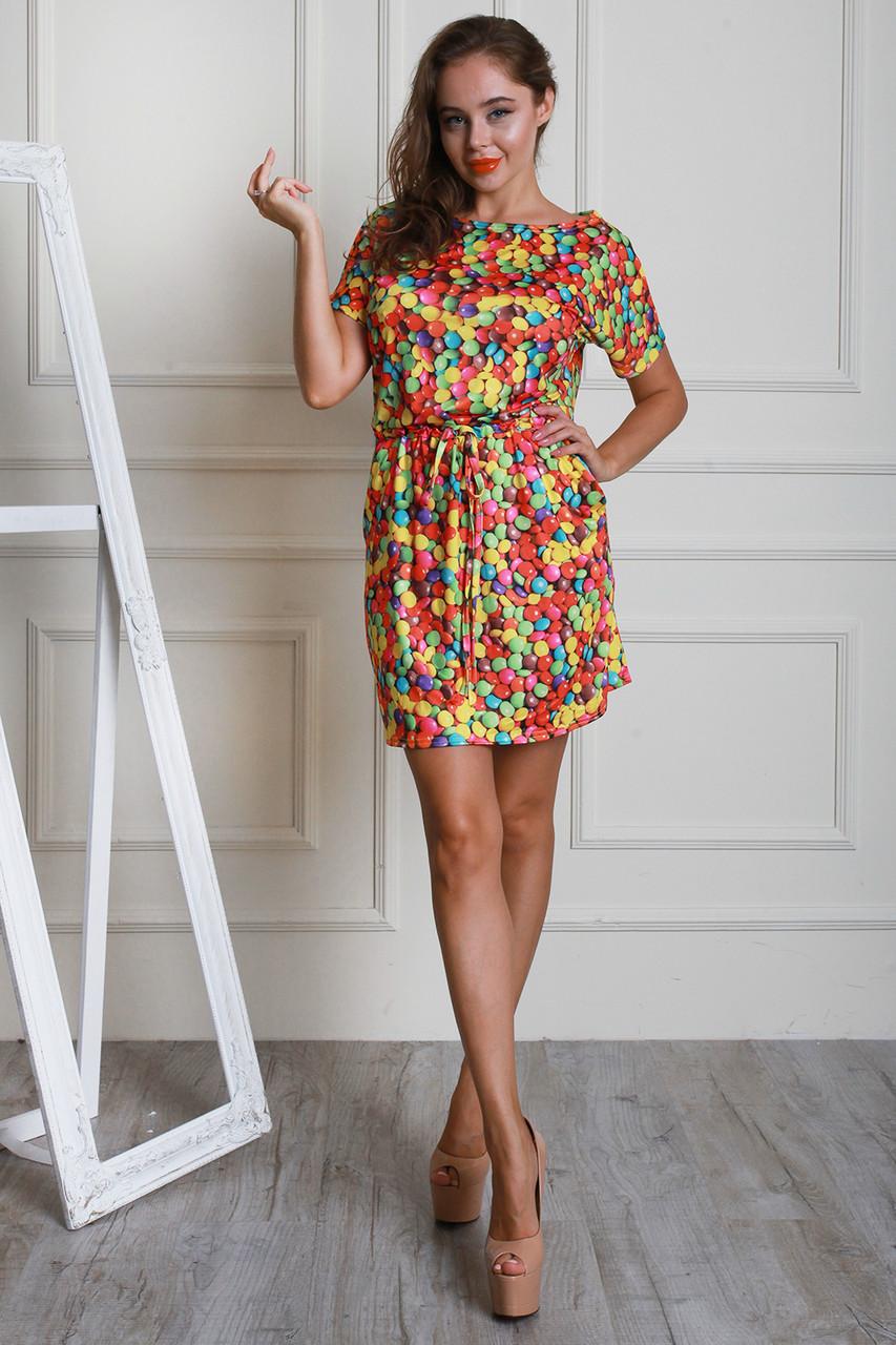 Модное летнее платье мини с принтом конфетки 42-52