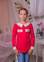 Красивая  трикотажная кофта  для девочки-подростка малинового  цвета 134-164