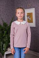 Модная   кофта-блузка  для девочки с трикотажа  цвет пудра  128-158