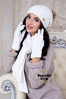 Комплект шапка , шарф и перчатки Эйфория