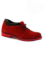 Удобные женские туфли из натуральной красной замши на низком ходу.