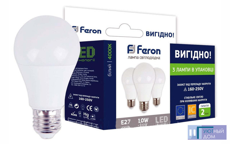 Светодиодная лампа Feron  LB-710 A60 10W E27 4000K (3шт/уп)