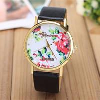 Женские часы Geneva Platinum Flower с черным ремешком из экокожи