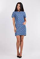 Стильное  платье прямого кроя из летнего джинса