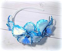 """Ободок с цветами """"Голубые орхидеи"""" из атласных лент ручной работы"""