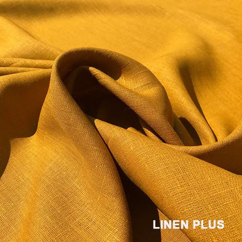 Горчичная льняная ткань, цвет 1218