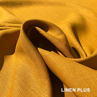 Натуральная льняная ткань горчичного цвета, цвет 812
