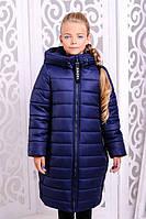 Стильное зимнее пальто  для девочки Ангелика джинс