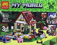 """Конструктор Lele 33016 аналог LEGO Creator 31038 Minecraft """"Времена года 3 в 1"""", 569 деталей"""