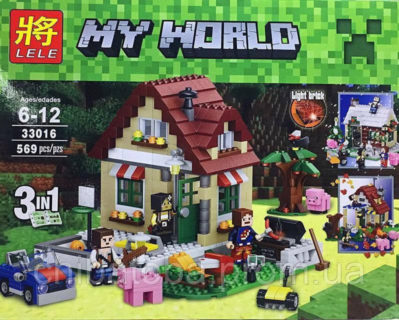 """Конструктор Lele 33016 аналог LEGO Creator 31038 Minecraft """"Времена года 3 в 1"""", 569 деталей - """"Чибатоба""""- магазин детской одежды, игрушек и аксессуаров в Харькове"""