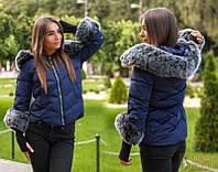 Стильная короткая куртка с капюшоном холофайбер осень/еврозима тренд ( 42,44,46)