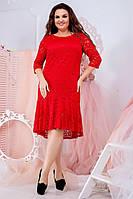 Гипюровое платье с оборкой по низу асимметричной длины, разные расцветки, норма и батал