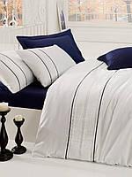 Изысканное сатиновое постельное белье ЕВРО размера с вышивкой Cotton Box Alone LACIVERT CB07
