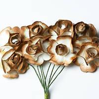 Цветочки декоративные Розы золотые, 2,5см, 8 шт/уп