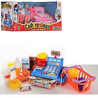 Игровой набор Кассовый аппарат 5510-11 -2 цвета, с продуктами, корзиной, весы, сканер, чек, деньги, муз., зв