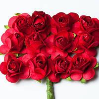 Цветочки декоративные Розы красные, 1,5см, 12 шт/уп