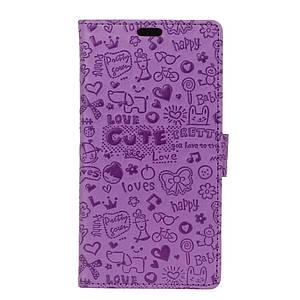 Чехол книжка для Motorola Moto E4 XT1762 боковой с отсеком для визиток, Мультяшки, Фиолетовый