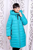 Стильное зимнее пальто  для девочки Ангелика бирюза