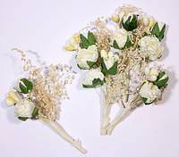 Цветочки декоративные Букетик роз, белые, 4см, 6 шт/уп