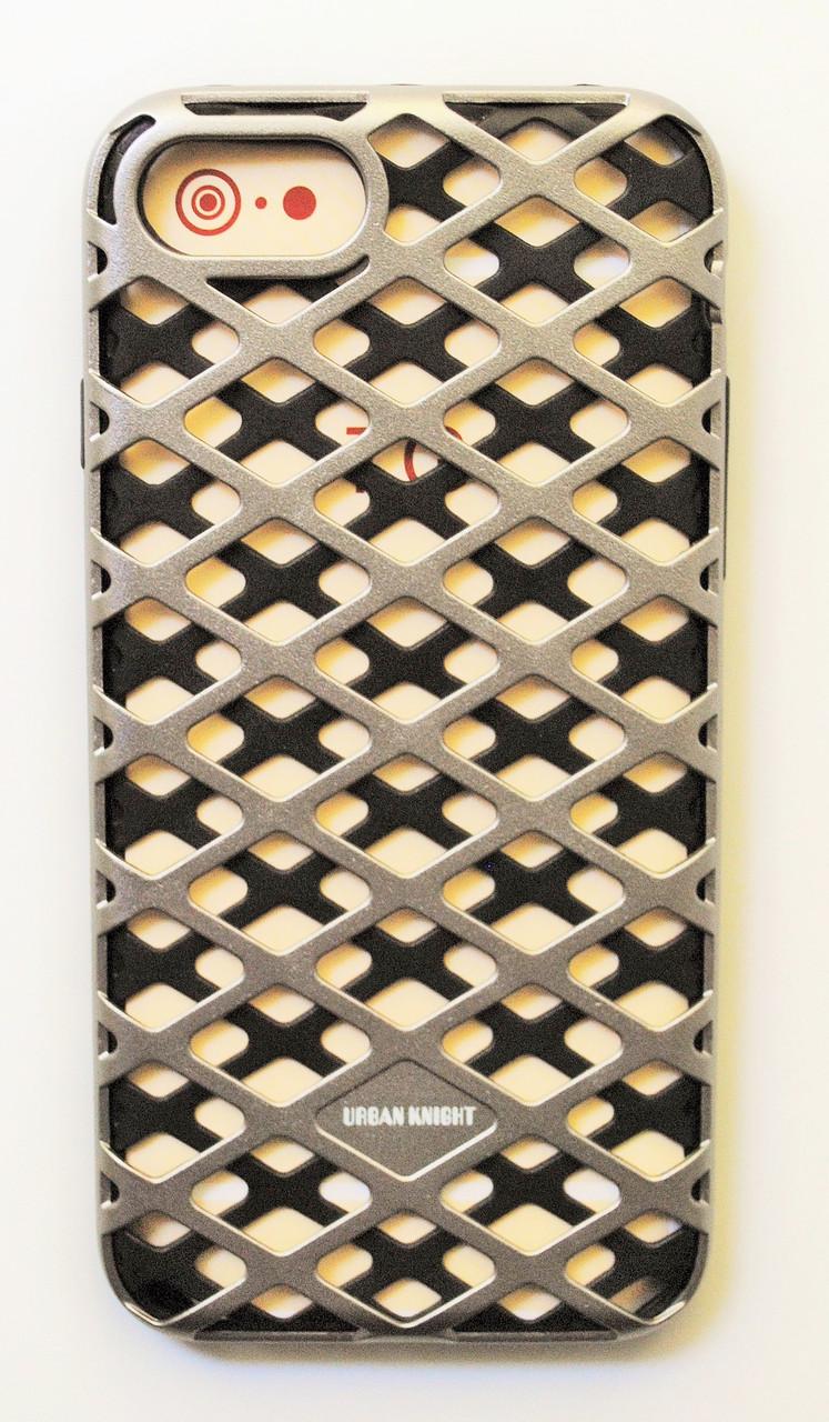 Чехол на Айфон 7 Urban Knight Силикон с пластиком Черный Серебро